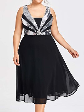 Ericdress Plus Size Sequins Chiffon Party Mid-Calf Dress