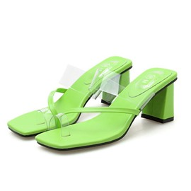 Ericdress PVC Toe Ring Chunky Heel Women's Slippers
