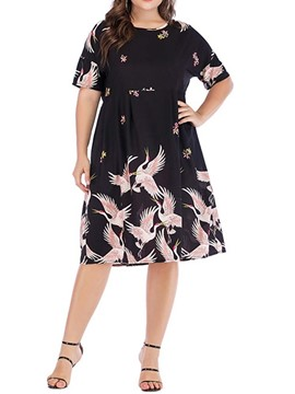 Ericdress Plus Size Animal Print Short Sleeve Knee-Length Casual A-Line Dress
