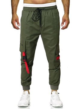 Ericdress Lace-Up Color Block Mens Casual Pants
