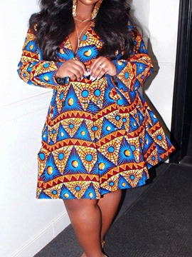 Ericdress Plus Size Above Knee African Fashion A-LineLong Sleeve Dress