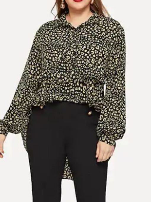 Ericdress Plus Size Leopard Print Long Sleeve Mid-Length Blouse