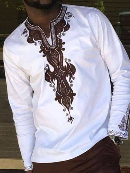 EricdressAfrican Fashion Dashiki Block V-Neck Mens Loose T-shirt