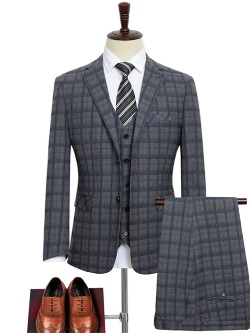 Ericdress Plaid Fashion Single-Breasted Mens Dress Suit