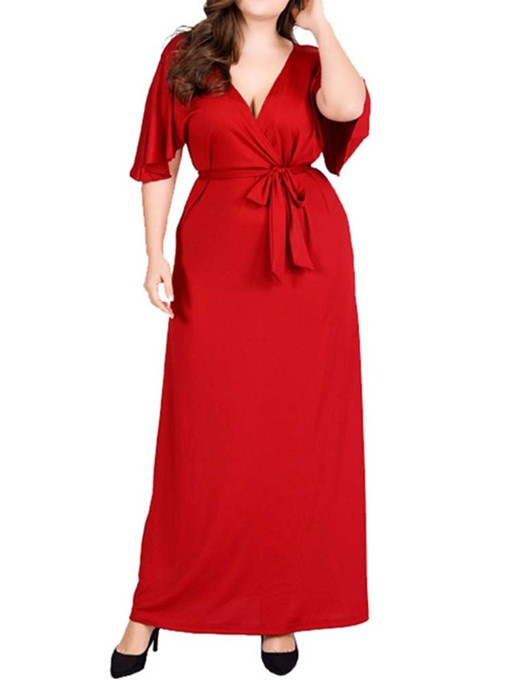 Ericdress Plus Size Lace-Up V-Neck Ankle-Length Mid Waist Party Dress