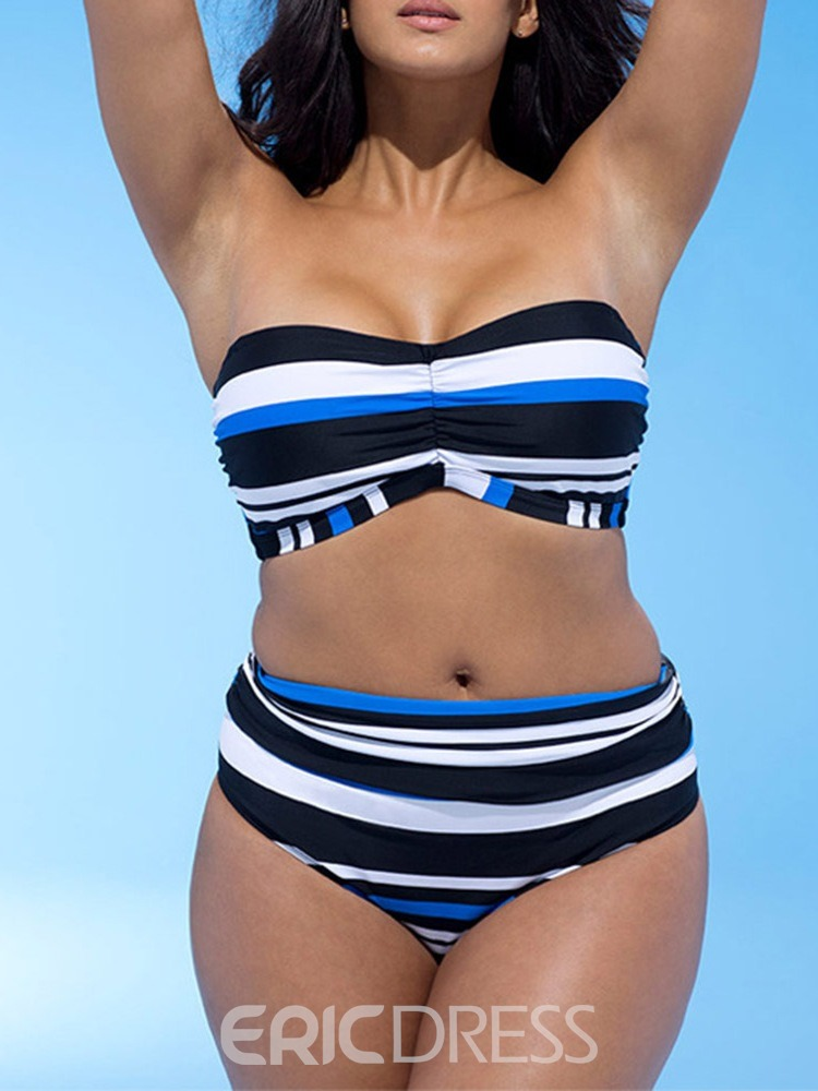 Ericdress Stripe Color Block Plus Size Sexy Swimsuit