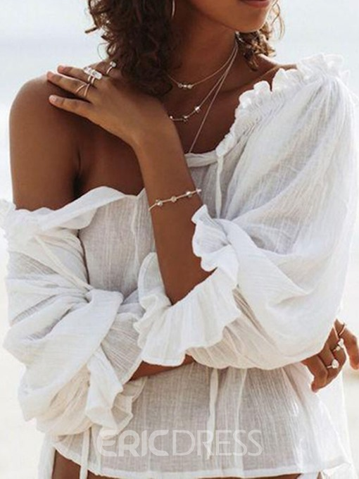 Ericdress Off-Shoulder Lace-Up Ruffles Blouse