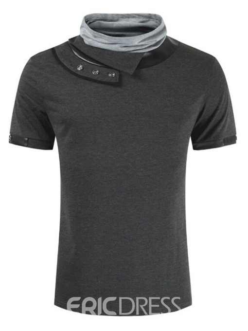 Ericdress Casual Color Block Heap Collar Slim Mens Short Sleeve T-shirt