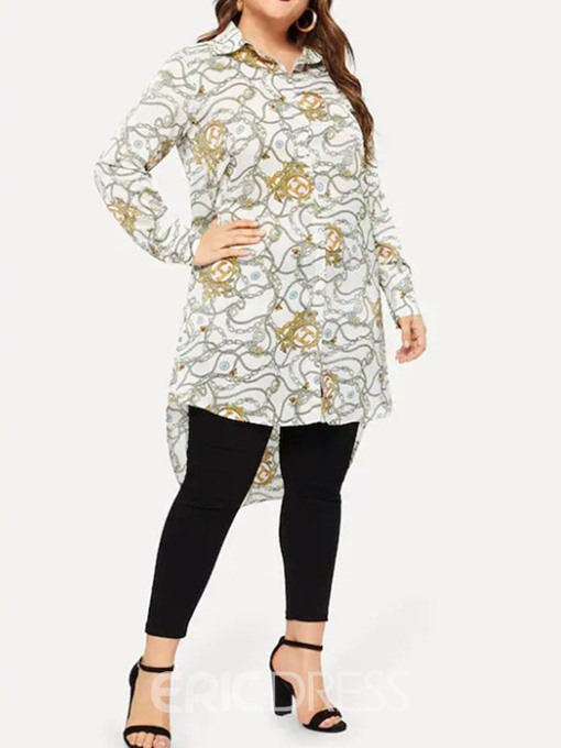 Ericdress Plus Size Print Button Long Blouse