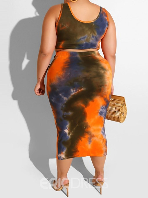 Ericdress Plus Size Lace-Up Color Block T-Shirt And Skirt Two Piece Sets