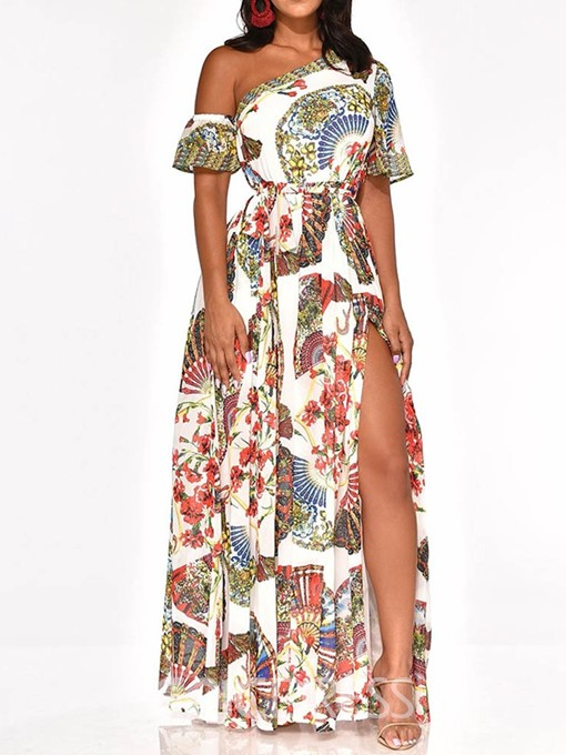 Ericdress Oblique Collar Floor-Length Print Party Floral Split Dress