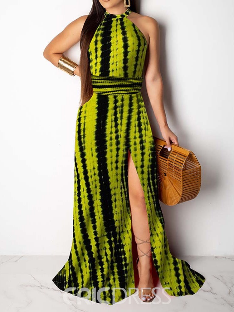 Ericdress African Fashion Floor-Length Sleeveless Lace-Up A-Line Dress