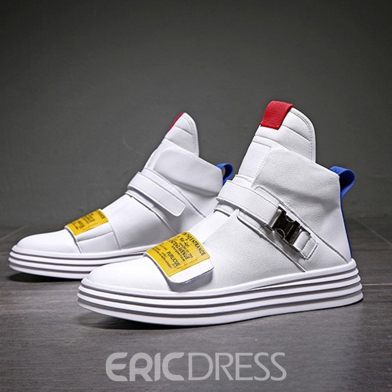 Ericdress PU Color Block Velcro Round Toe Men's Skate Shoes