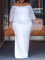 Ericdress Plus Size Floor-Length Off Shoulder Bodycon Pullover Dress фото