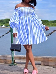 Ericdress Off Shoulder Pleated Long Sleeve Casual A-Line Dress thumbnail