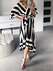 Ericdress Ankle-Length V-Neck Batwing Sleeve Mid Waist Striped Dress thumbnail