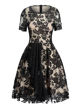 Ericdress A-Line Short Sleeve Above Knee Floral Lace Dress