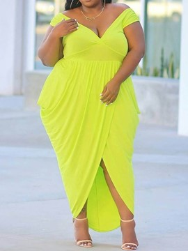 Ericdress Plus Size V-Neck Pleated Floor-Length Asymmetrical Plain Dress