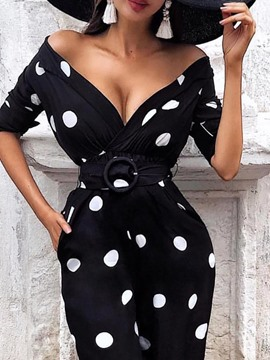 Ericdress Polka Dots V-Neck Short Sleeve Bodycon Pocket Dress