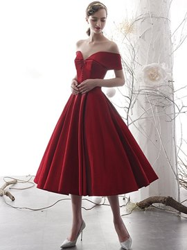 Ericdress Tea-Length Button Off-The-Shoulder A-Line Homecoming Dress