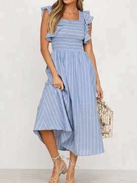 Ericdress Pleated Square Neck Mid-Calf Striped A-Line Dress