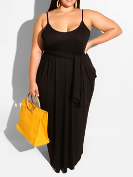 Ericdress Floor-Length Sleeveless Pocket Plus Size Backless Dress