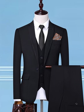 Ericdress One Button Blazer Plain Mens Dress Suit
