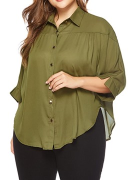 Ericdress Regular Button Plain Plus Size Blouse