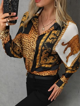 Ericdress Print Leopard Button Office Lady Blouse