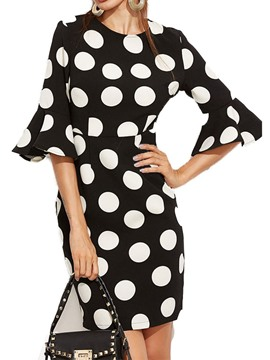 Ericdress Polka Dots Round Neck Print Flare Sleeve Straight Dress