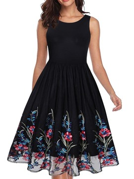 Ericdress Round Neck Embroidery Sleeveless Pleated Out A-Line Dress