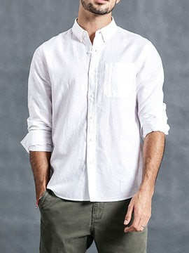 Ericdress Lapel Plain Button Single-Breasted Mens Loose Shirt