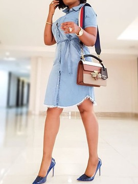 Ericdress Knee-Length Short Sleeve Asymmetric Mid Waist Denim Dress