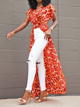 Ericdress V-Neck Leopard Print Split Short Sleeve Long Blouse