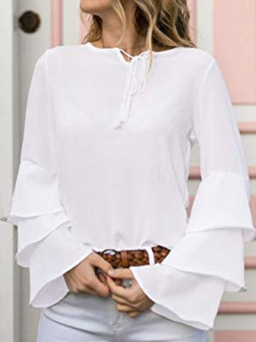 Ericdress Lace-Up Plain Flare Sleeve Blouse
