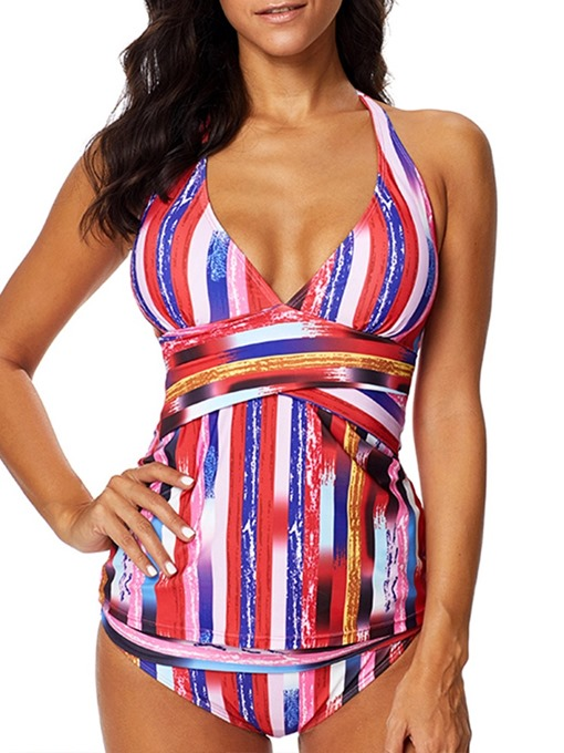 Ericdress Stripe Plus Size Color Block Sexy Swimsuit