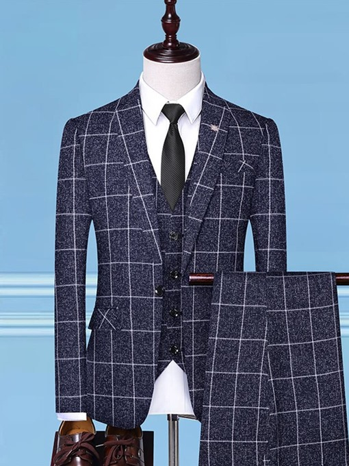 Ericdress One Button Color Block Vest Mens Dress Suit