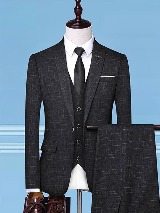 Ericdress Plaid Blazer One Button Mens Dress Suit