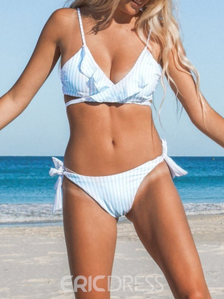 Ericdres Lace-Up Stripe Bowknot Ruffle Swimsuit