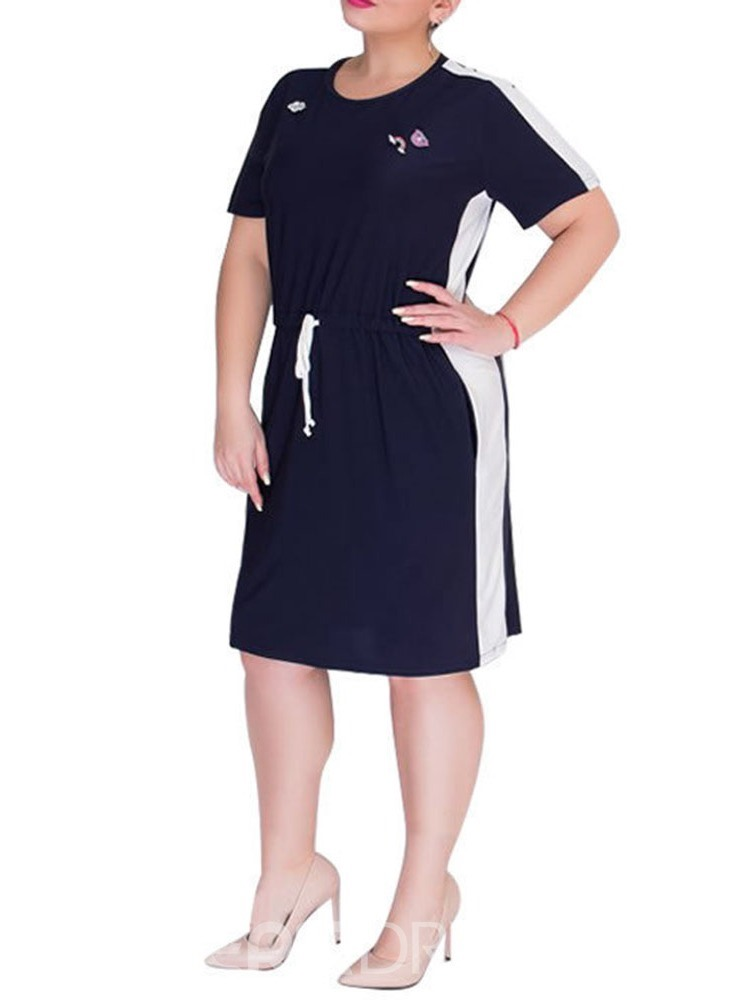 Ericdress Plus Size Casual Round Neck Short Sleeve Lace-Up Regular Dress