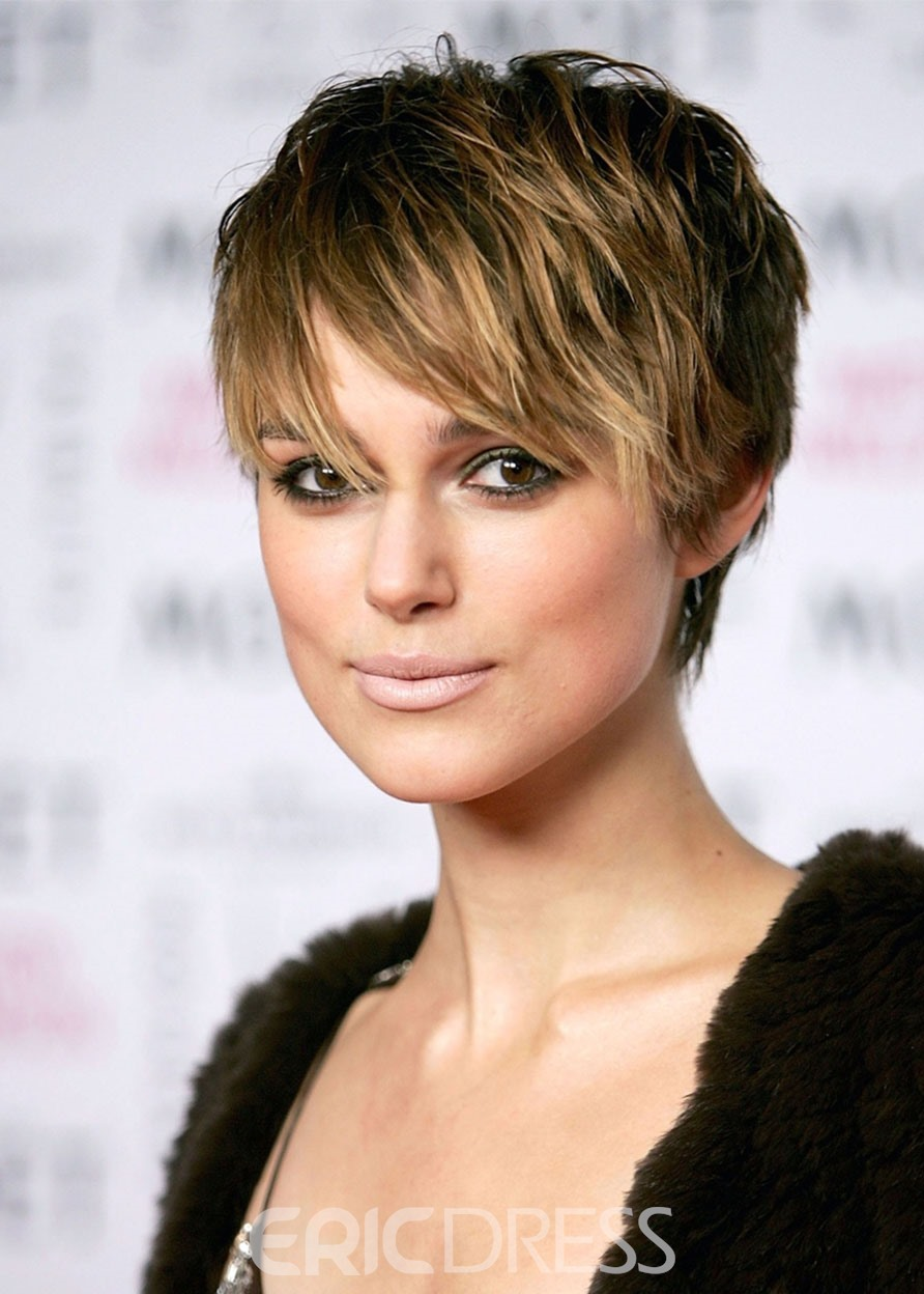 Ericdress Wome's Pixie Cut Straight Human Hair Wigs Lace Front Cap Wigs 12Inch