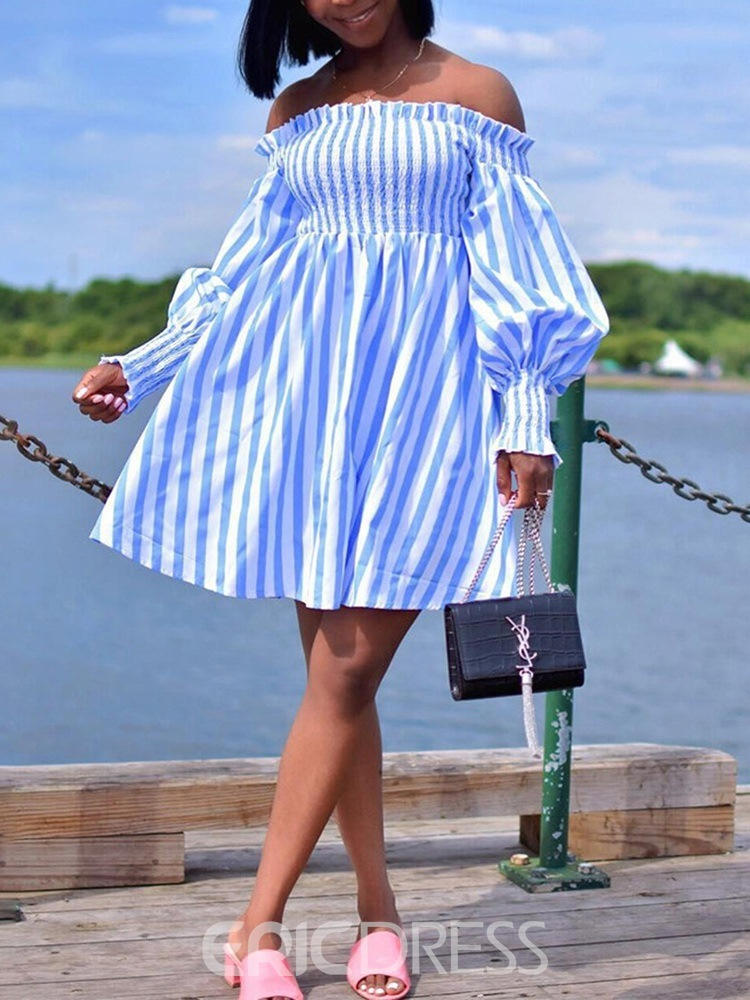 Ericdress Off Shoulder Pleated Long Sleeve Casual A-Line Dress