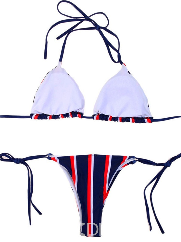 Ericdress Sexy Stripe Lace-Up Bikini Set