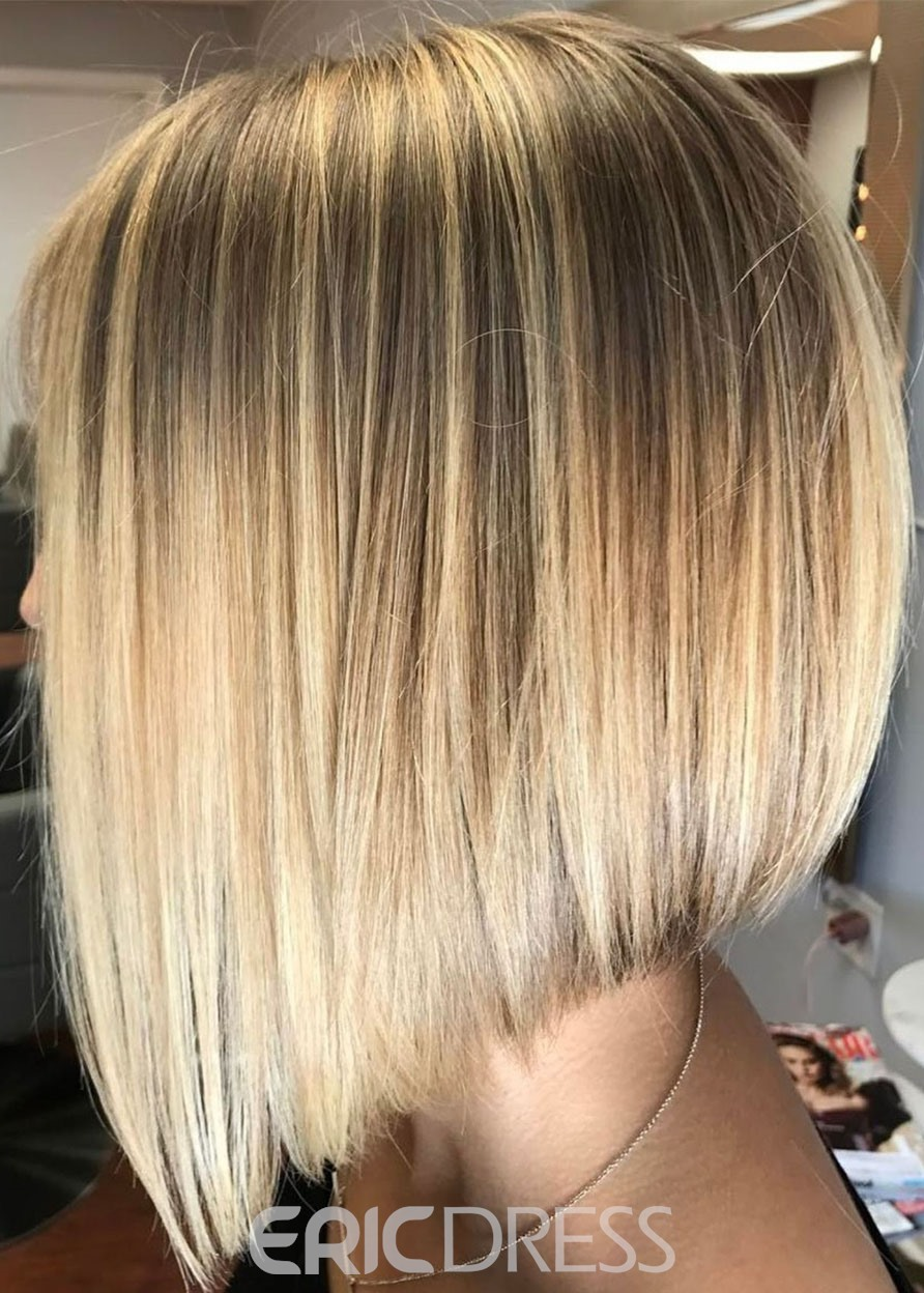 Ericdress Short Bob Hairstyles Women's Ombre Color Straight Synthetic Hair Capless Wigs 14Inches