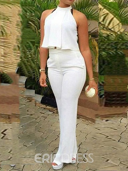 Ericdress White Office Lady Plain Vest And Pants Two Piece Sets
