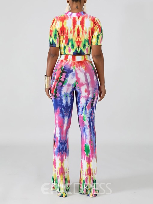 Ericdress Print Tie-Dye Color Block T-Shirt And Pants Two Piece Sets