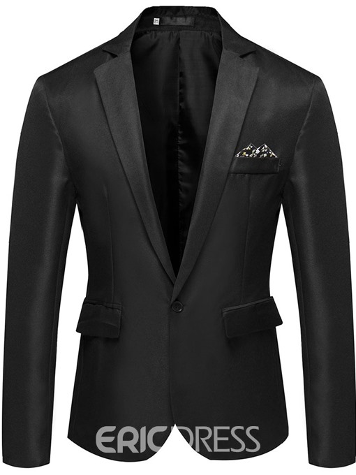 Ericdress Button Notched Lapel Mens Blazer