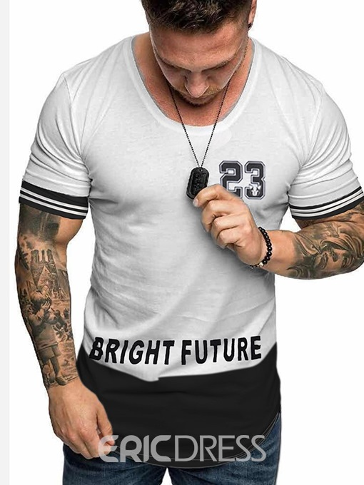 Ericdress Number Print Casual Loose Mens T-shirt