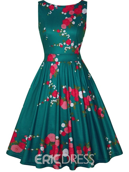 Ericdress Sleeveless Knee-Length Round Neck Floral A-Line Dress