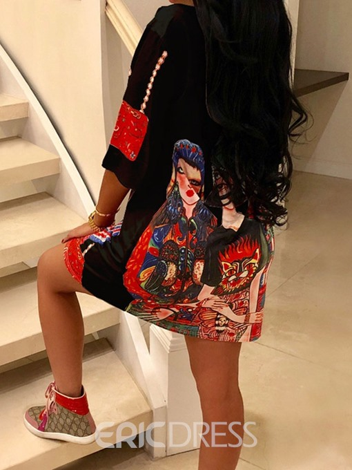 Ericdress Cartoon Above Knee Print Pullover Straight Dress